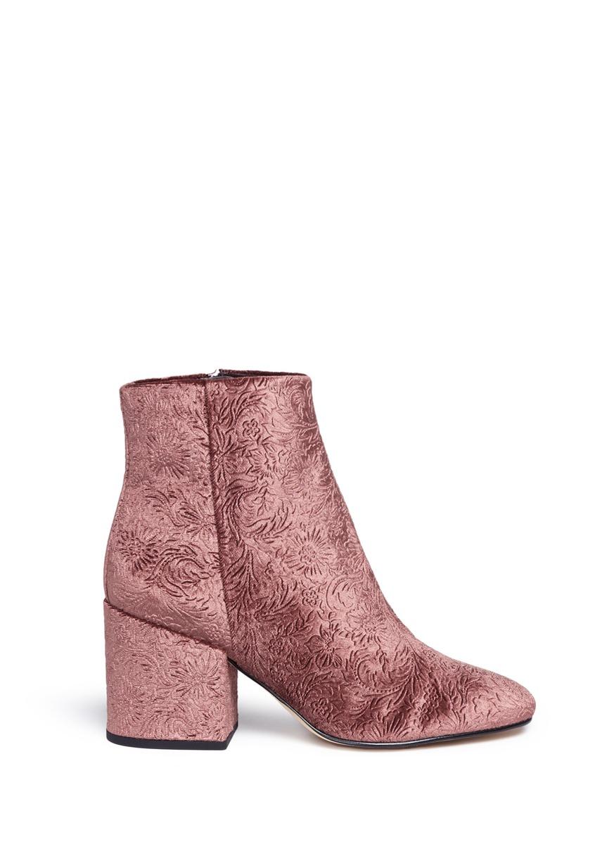 'Taye' floral jacquard velvet ankle boots