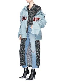 R.shemiste Cursive print oversized padded denim jacket