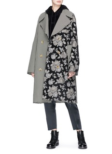 Song for the Mute Floral jacquard patchwork oversized coat