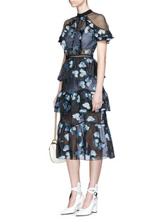 self-portrait Floral fil coupé open back cape organdy dress