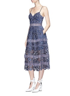 self-portrait Floral guipure lace tiered midi dress