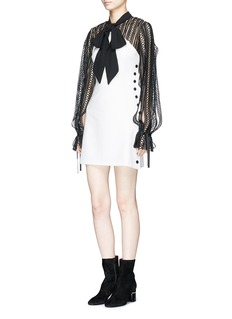 self-portrait Monochrome scarf neck lace cady mini dress