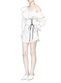 self-portrait One-shoulder corset belt denim dress