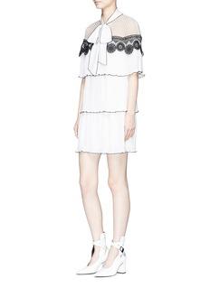 self-portrait Monochrome lace cape tiered pleated crepe dress