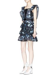 self-portrait Floral fil coupé tiered organdy mini dress