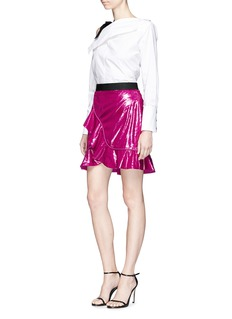 self-portrait Frill confetti velvet mock wrap mini skirt
