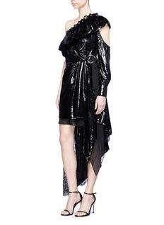 self-portrait Belted lace velvet one-shoulder wrap effect dress