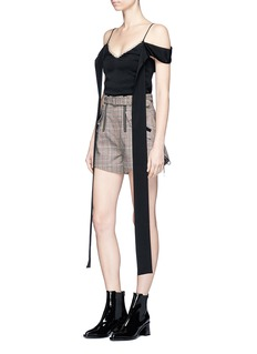 self-portrait Lace-up cuff belted check plaid shorts