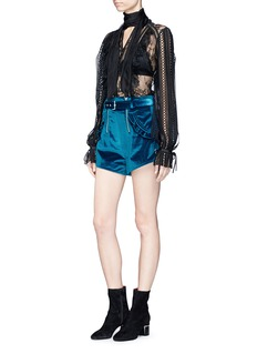 self-portrait Lace-up cuff velvet shorts