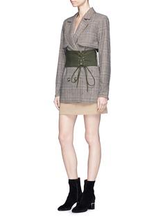 self-portrait Split sleeve corset belt cropped check plaid trench coat