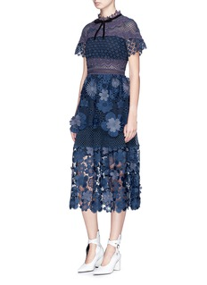 self-portrait 3D floral guipure lace tiered dress