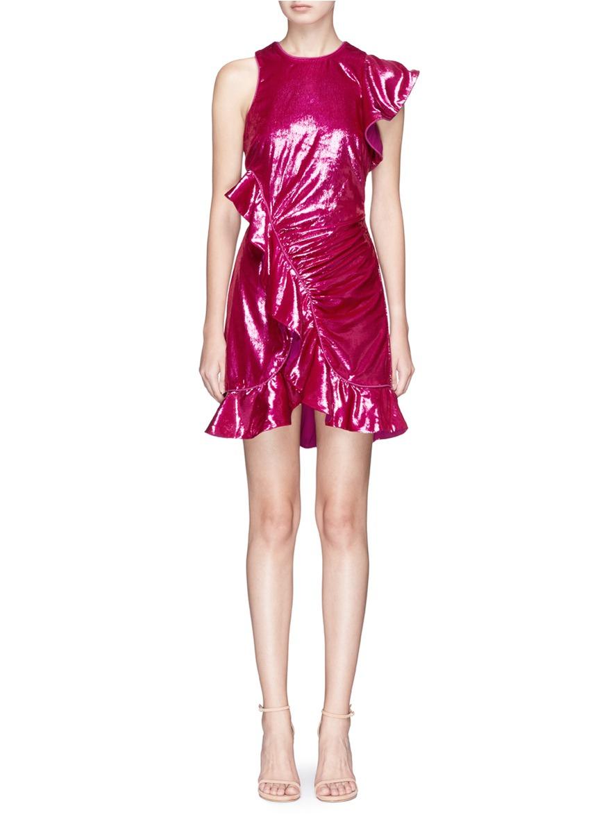Asymmetric sleeve frill velvet mini dress