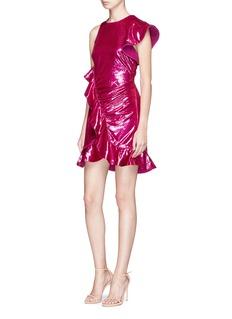 self-portrait Asymmetric sleeve frill velvet mini dress