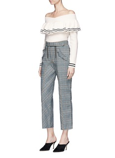 self-portrait 'Lexi' belted check plaid pants