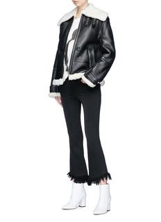Helmut Lang 'Aviator' shearling panel lambskin leather jacket