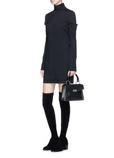 Helmut Lang Split sleeve stretch crepe mini dress