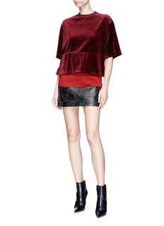 Helmut Lang Houndstooth patch lambskin leather mini skirt