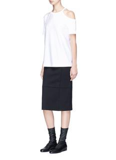 Helmut Lang Cutout shoulder Pima cotton T-shirt