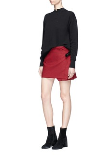 Helmut Lang Wrap front pleated houndstooth skirt