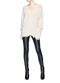 Helmut Lang Distressed wool-cashmere V-neck sweater