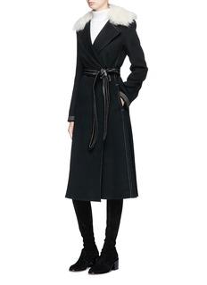 Helmut Lang Lambskin shearling collar wool-cashmere coat