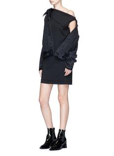 Helmut Lang One-shoulder stretch crepe mini dress