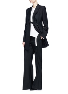 Helmut Lang Deconstructed textured virgin wool blend long blazer