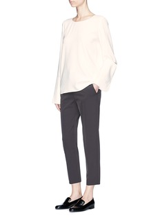The Row 'Ivy' oversized cuff long sleeve crepe top