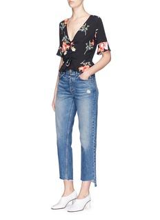 Topshop Flared drawstring floral print V-neck top