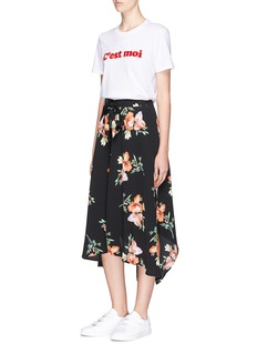 Topshop Floral print handkerchief hem midi skirt