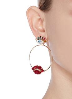 Anton HeunisCrystal eye and lips detachable hoop earrings