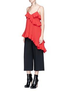 Alexander McQueen Asymmetric ruffle crepe camisole top