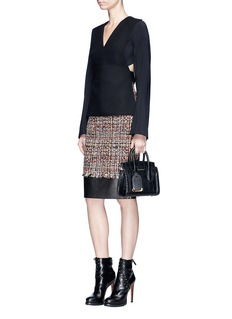 Alexander McQueen 'Wishing Tree' leather panel tweed pencil skirt