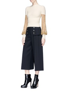 Alexander McQueen Metallic crochet panel mixed knit cropped sweater