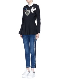 Alexander McQueen Reverse outseam letout cuff cropped skinny jeans