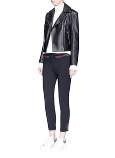 Alexander McQueen Leather whipstitch wool-blend cropped suiting pants