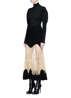 Alexander McQueen Metallic mesh panel rib knit maxi skirt