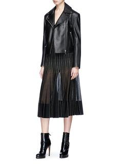 Alexander McQueen Metallic piping silk knit pleated skirt