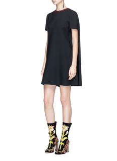 Alexander McQueen Contrast stitched collar cape back mini suiting dress