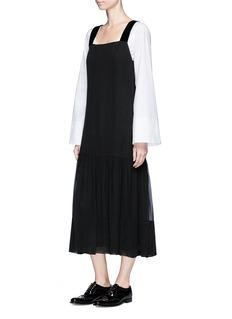 Elizabeth and James 'Sabella' velvet strap silk chiffon pintuck dress