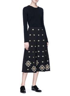 Elizabeth and James 'Lottie' floral embellished crepe midi skirt