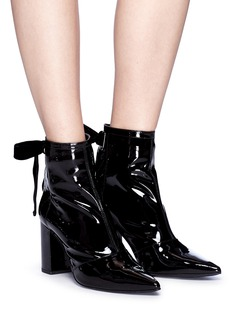 Robert Clergerie 'Karli' ribbon tie patent leather ankle boots