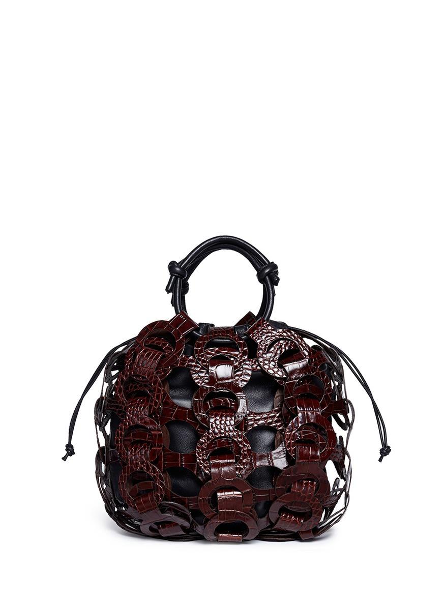 Interlocking loop small croc embossed leather drawstring tote