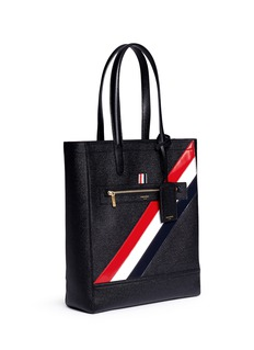 Thom Browne Stripe panel pebble grain leather tote bag