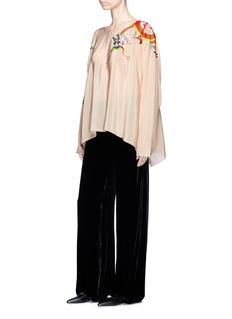 Ms MIN Dragon embroidered batwing sleeve silk crepe top