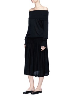 Ms MIN Convertible off-shoulder wool knit dress