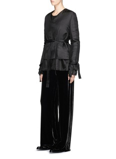 Ms MIN Belted double layer silk satin jacket