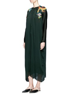 Ms MIN Dragon embroidered silk charmeuse shift dress