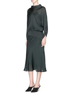 Ms MIN Batwing sleeve silk shift dress