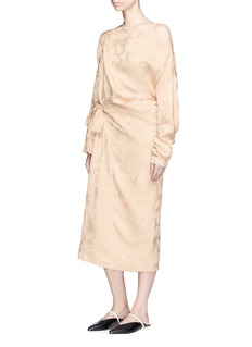 Ms MIN Floral brocade mock wrap dress